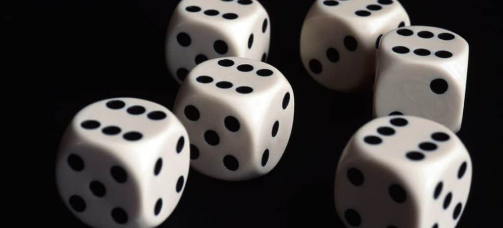 6 dice on a table