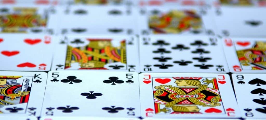 Deck of cards laying out on a table