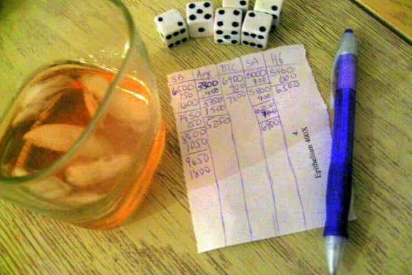 Scoring sheet for a game of Farkle