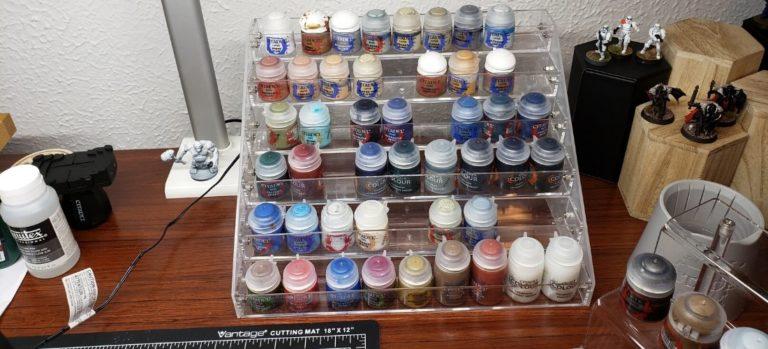 Acrylic paint rack with miniature paints