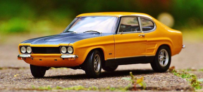 Yellow classic model car