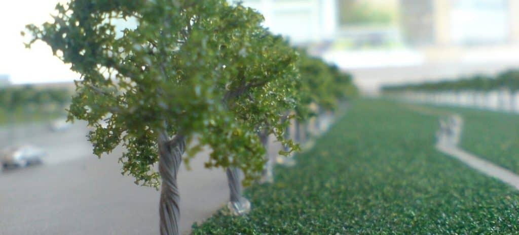 A row of miniature model trees