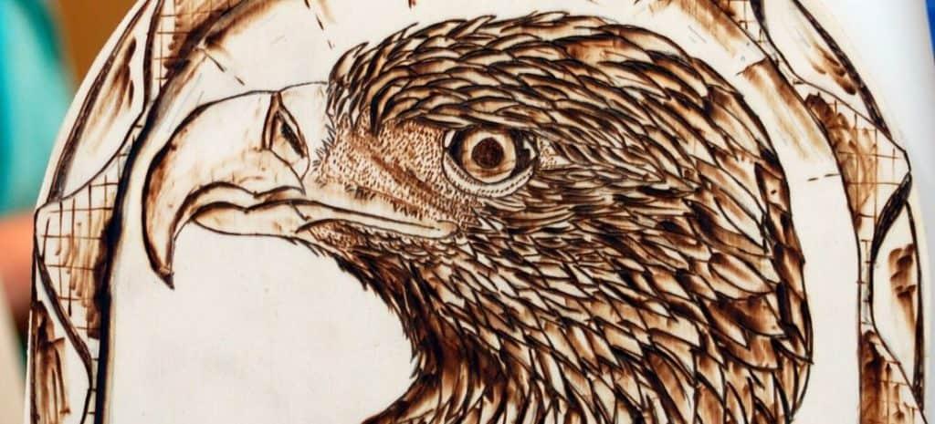 Wood burning of an eagle