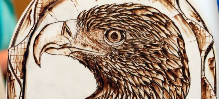 Wood burning of an eagle