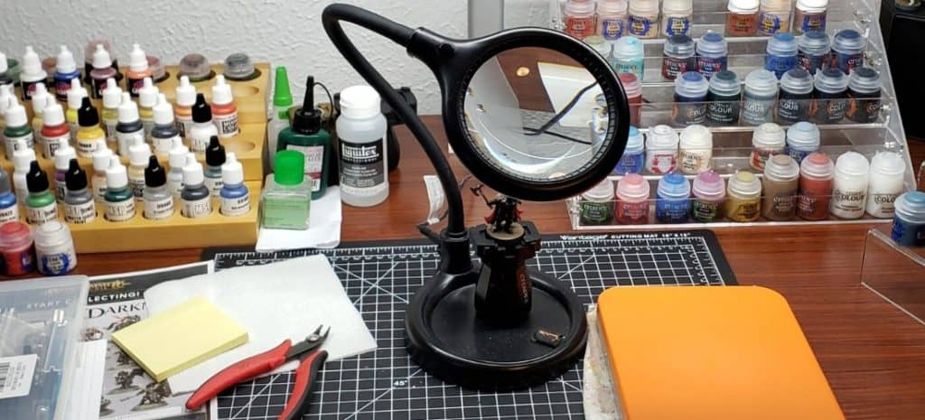 A close up of one of the many magnifying lamps I have on my hobby desk