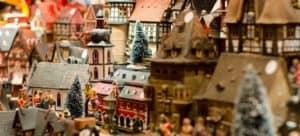 Bright, colorful miniature village.