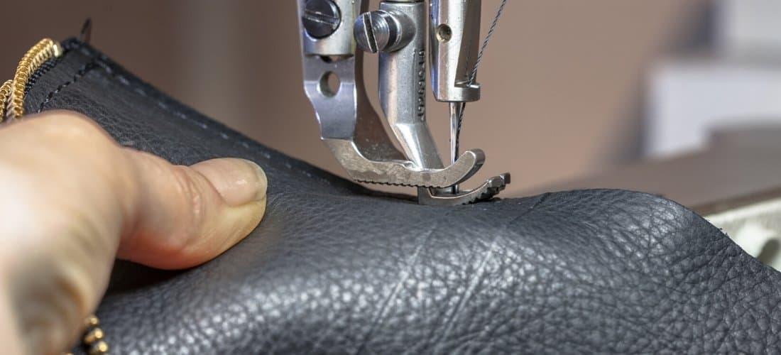 Machine stitching black leather 1