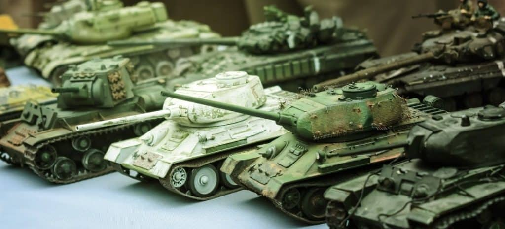 Collection of six different battle tanks.