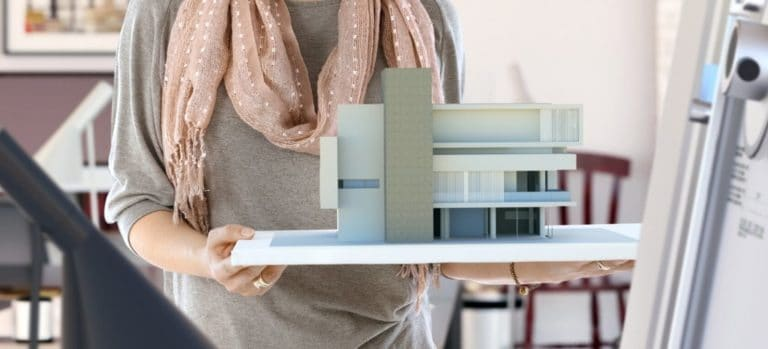 Assembled model of modern building.