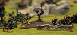 Warhammer 40k Battle on gaming mat