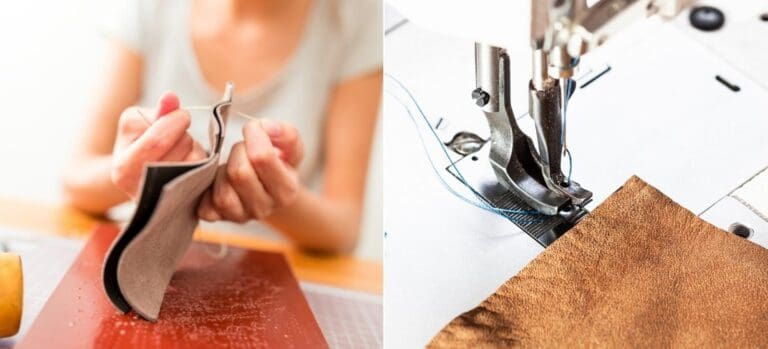 Woman hand stitching leather and a piece of leather being stitched on a sewing machine.