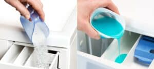 Woman's hand adding powder soap to washer, and man's hand adding liquid soap to washer.