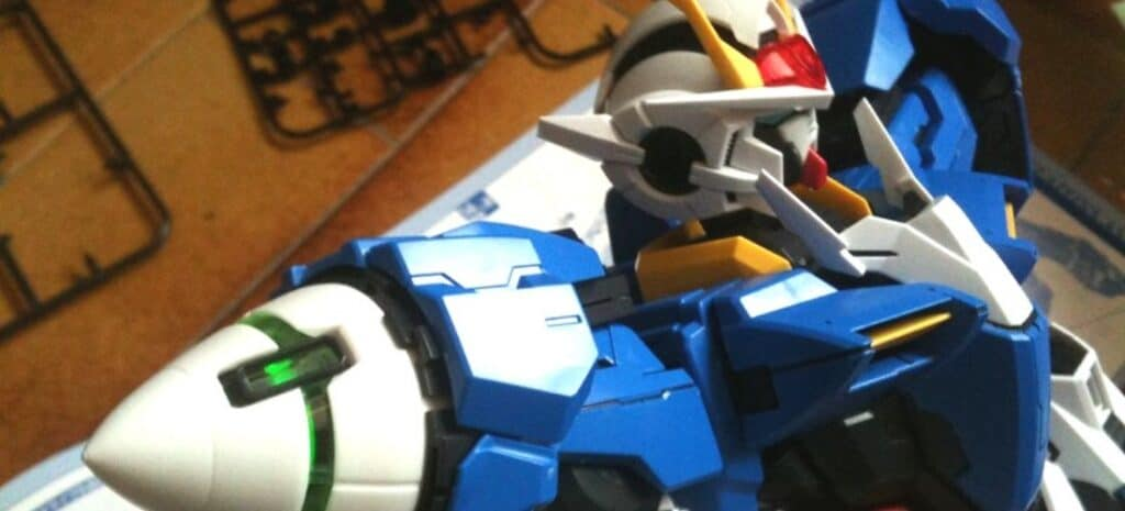 Close-up view of blue and white Gundam model.