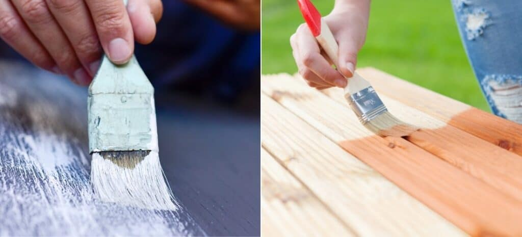 Man's hand applying white paint, and woman's hand applying wood stain.