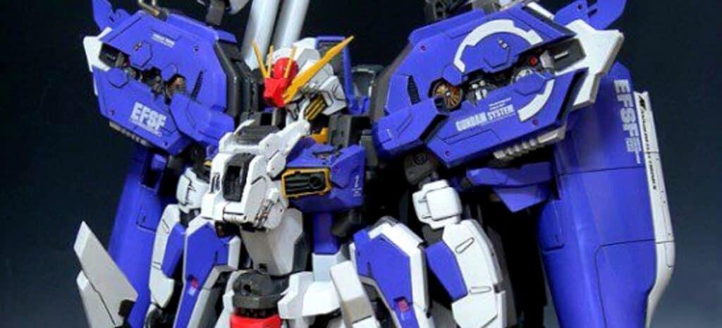Upper half of a blue and gray Gundam model.