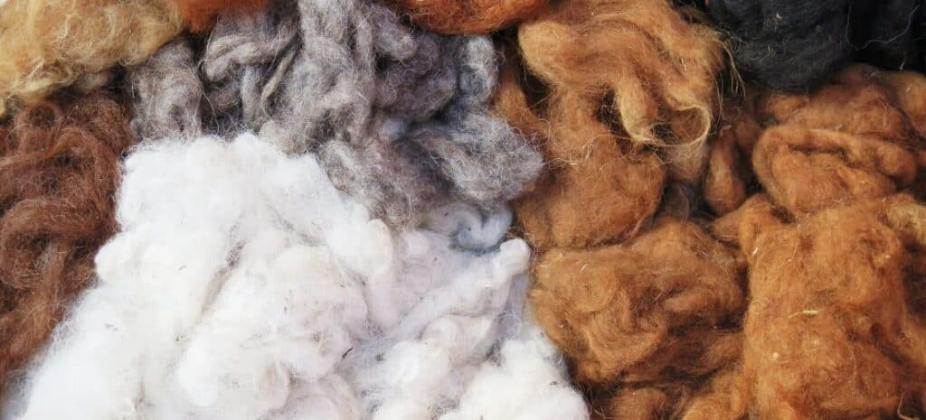 Piles of white, black, and brown wool.