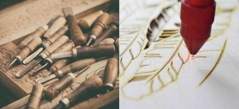 On the left, a hand engraving and numerous chisels. On the right, a laser engraving a feather pattern.