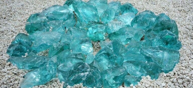 A pile of blue-green landscaping glass.