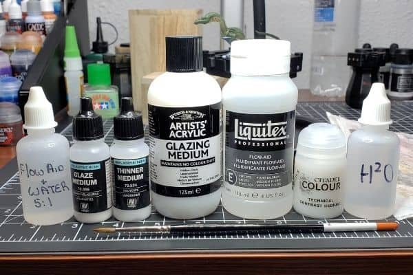 All the different mediums I use for miniature painting