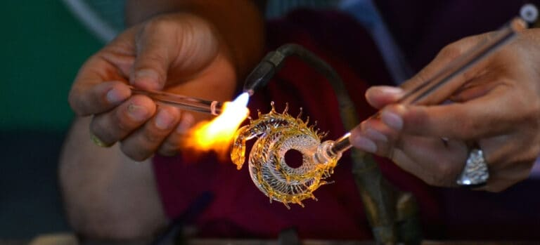 Torch Heating Up Glass Pipe