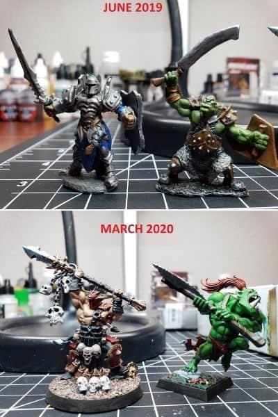 2019 to 2020 Miniature Painting Progression