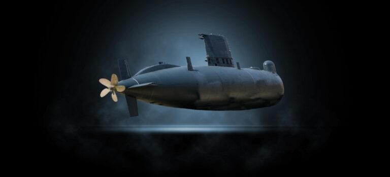 A submarine spotlighted against a dark background.