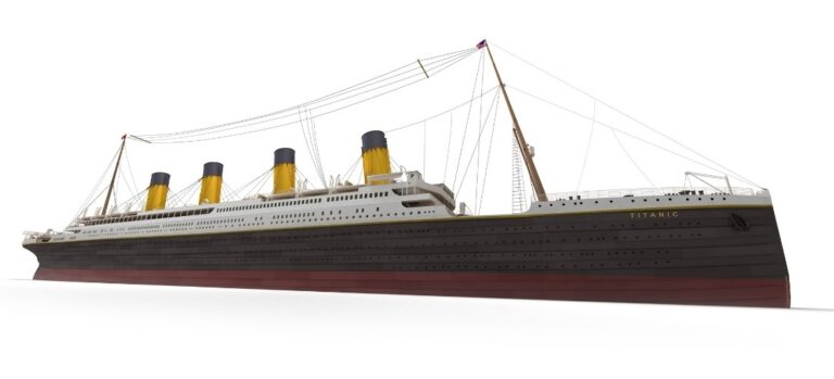 An image of a model Titanic with a white background.