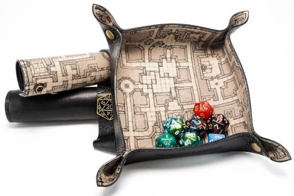 Collapsible Leather Map-Print Dice Tray
